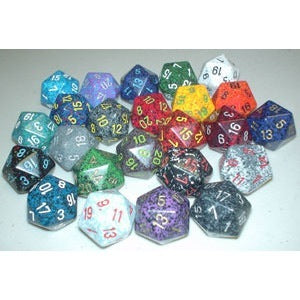 Chessex 34mm 1d20 Opaque/Speckled (Various Colours)
