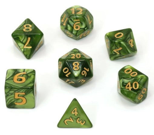 RPG Set - Mega Dice - Green Swirl w/ Gold