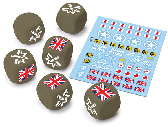 World of Tanks: Miniatures Game - British Upgrade Pack Dice (6) & Decal (1)