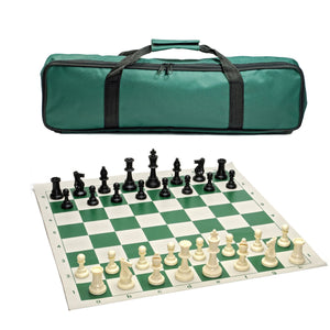 Tournament Chess Set with Green Bag – 3.75 Inch King Solid Plastic