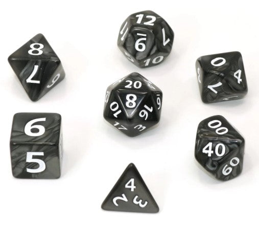RPG Set - Mega Dice - Black Swirl w/ White