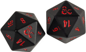 Dungeons & Dragons RPG: Heavy Metal Dice - D20 Black and Red (2)