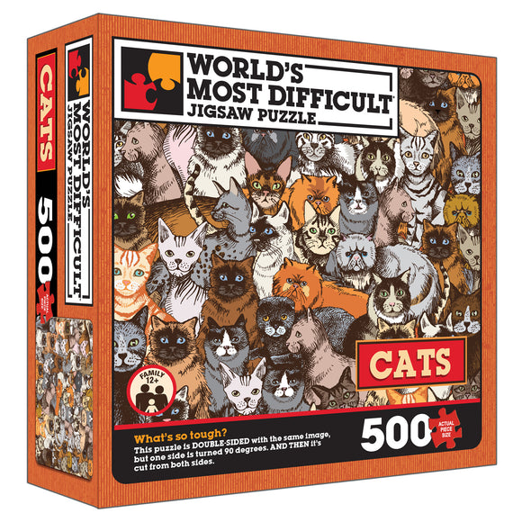 World's Most Difficult Jigsaw Puzzle – Cats – Double Sided Puzzle – 15 in