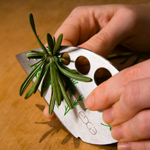 Load image into Gallery viewer, Edge Design's Herb Stripper removing easily herbs from stem