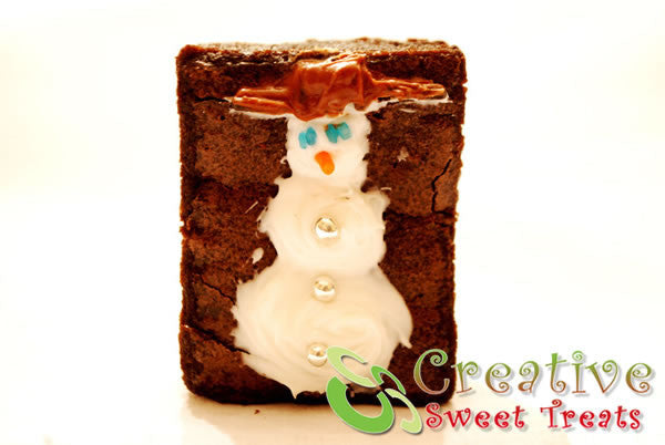 Fudge Brownies With Snowman