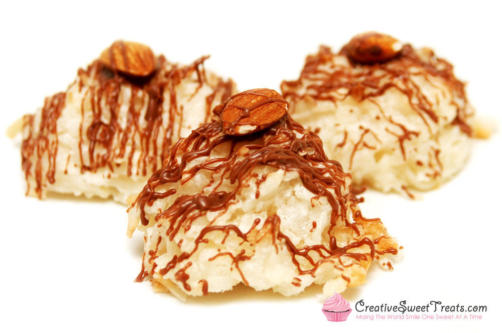 Coconut Macaroons Drizzled in Chocolate and Topped with an Almond Delivered