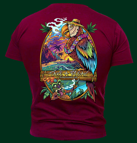Cannabis smoking parrot graphic design on men's short sleeve t-shirt.