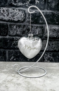 Glass Memorial Baubles - White Feather with a Name