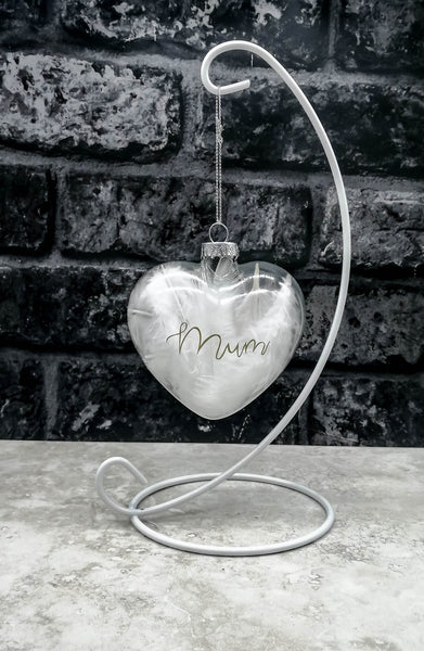 Memorial Bauble - Glass with Angel Wings, Personalised