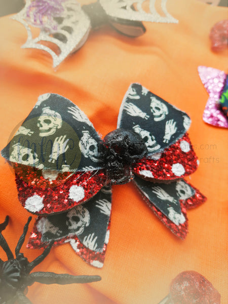 Halloween Hair Bow - Skull and Sparkles