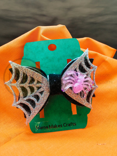 Halloween Hair Bow - Spider and Sparkle