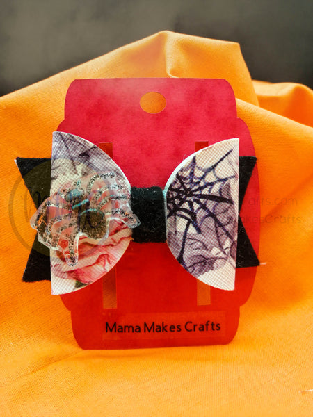Halloween Hair Bow - Roses and Spiders