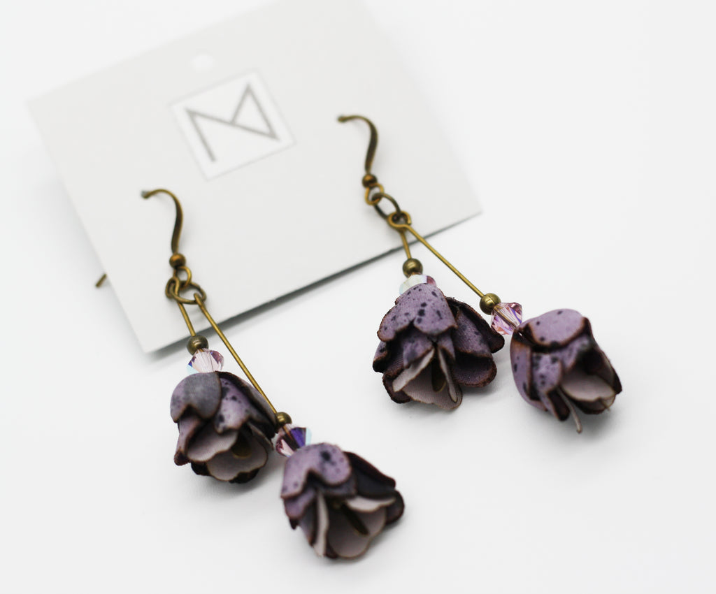 Silk Purple Blossom Earrings