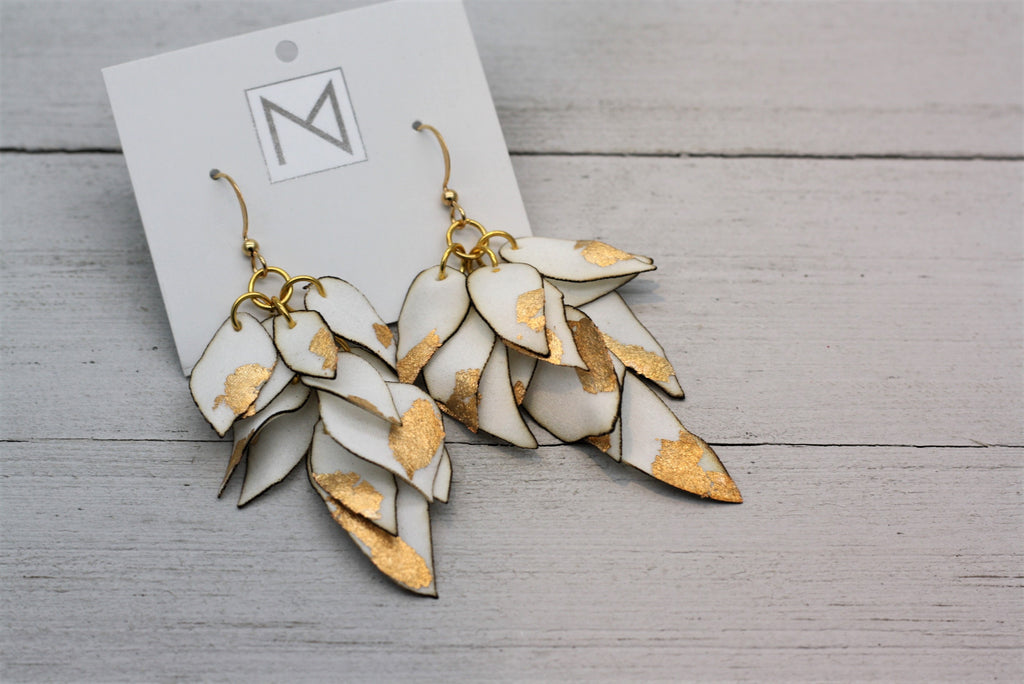 Ivory Silk Petal Earrings