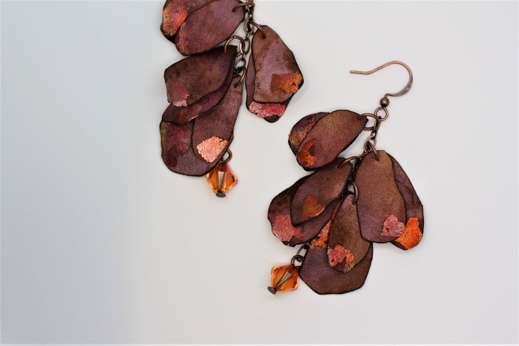 Copper and Pink/Rust Petals with Crystals