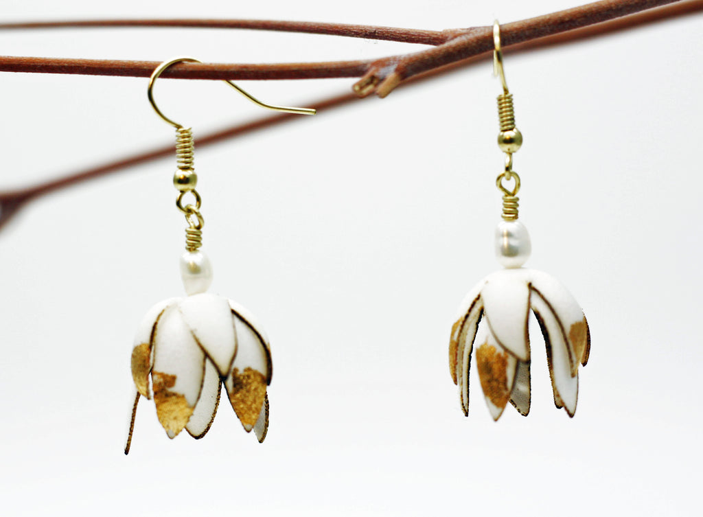 Silk Blossom Gold Earrings, Freshwater Pearl