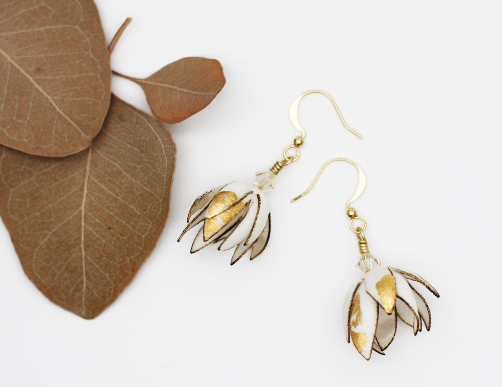 Silk Blossom Gold Earrings, Swarovski Crystal