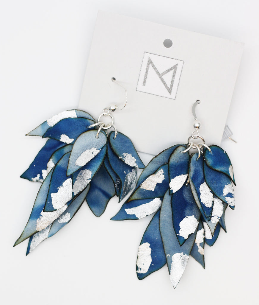 Silk Indigo Cascading Petals Silver Earrings