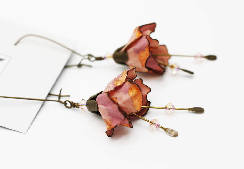 Pink Blossom Kidney Wire Earrings
