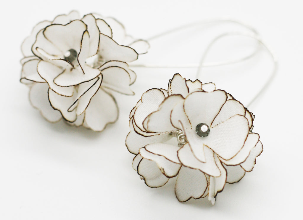 Silk Floral Cluster Silver Kidney Wire Earrings