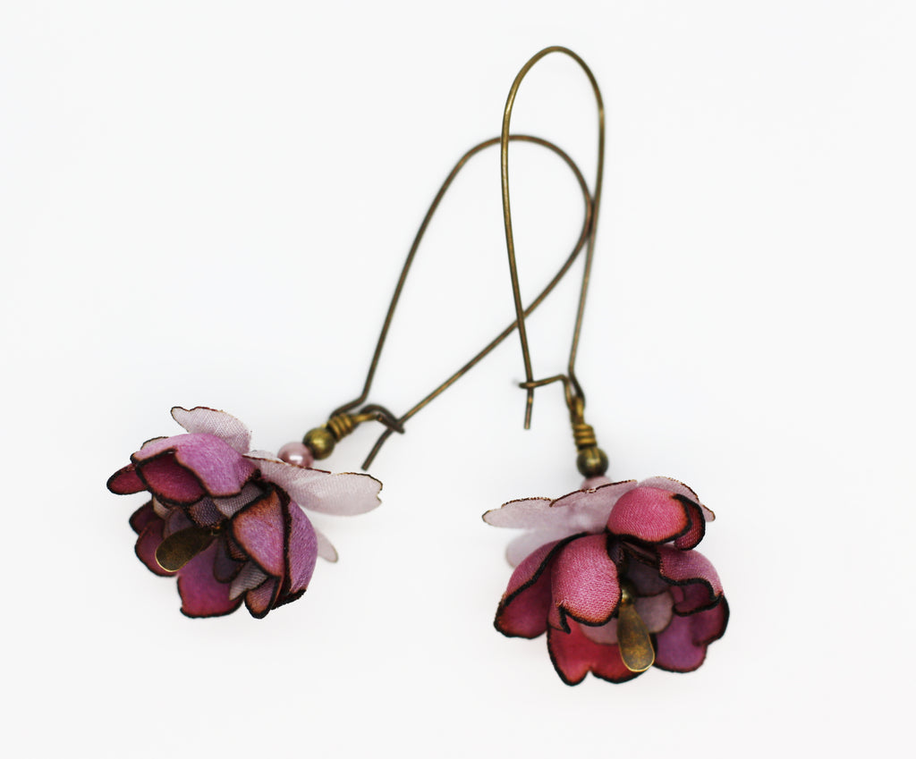 Silk Purple Blossom Antique Brass Kidney Wire Earrings