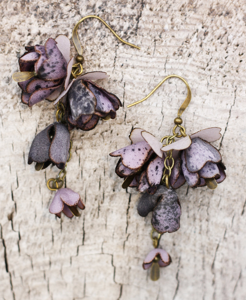 Silk Lavender Bud Earrings on Brass chain