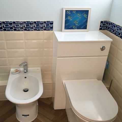 Navy blue ocean shoal tile used in bathroom