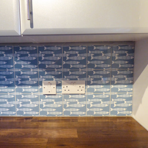 Grey blue Ocean Shoal tile - kitchen splashback