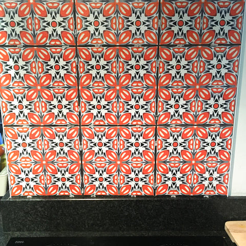 Orange Fox Flower tiles as a splashback