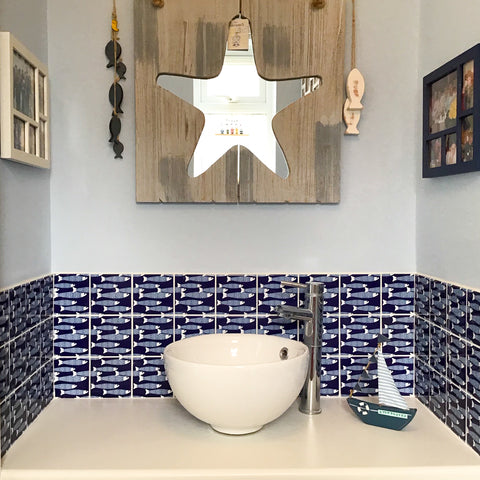 Navy Blue Ocean Shoal Tiles in Cloakroom
