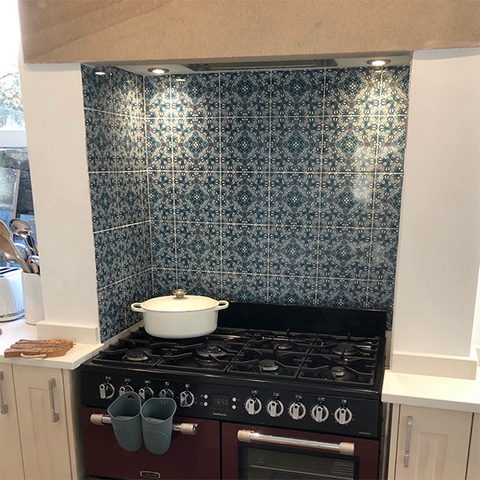 Range Cooker splashback - Derby - Flourishing Garden small scale tiles