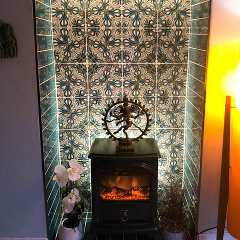 Large Scale Flourishing Garden tiles - back of fireplace
