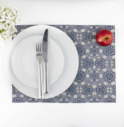 Moroccan Interlocking Design Fabric Placemat, denim blue