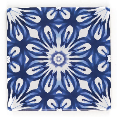 Dutch Delft style tiles - navy blue and white flower tile - Fired Ink Version