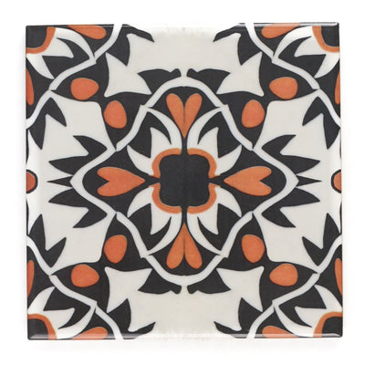Aztec orange black cream tiles
