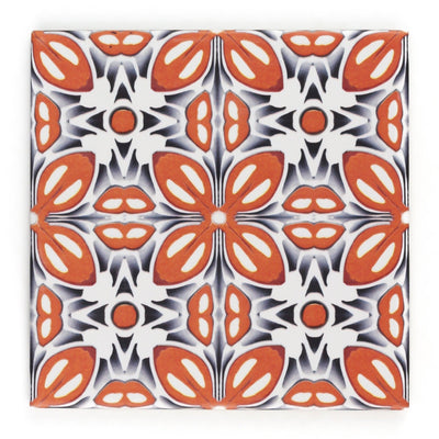 Orange Fox Flower tiles - Fired Ink Version - DoodlePippin