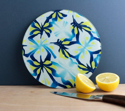 Blue Yellow Round G&T cutting board - DoodlePippin