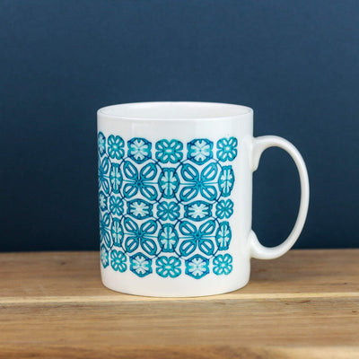 Bone china turquoise flower mug - DoodlePippin