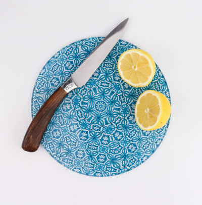 Small round chopping board, Turkish turquoise flower pattern, heatproof worktop protector, Gin and Tonic chopping board, glass pan stand