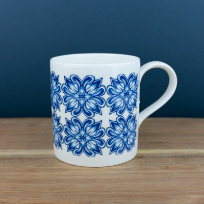 Large blue bone china mug - DoodlePippin