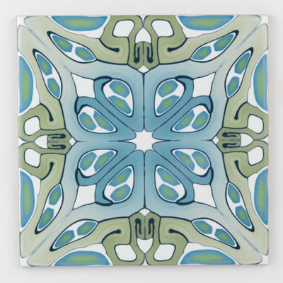 """Suzanne"" muted green blue art deco tile"