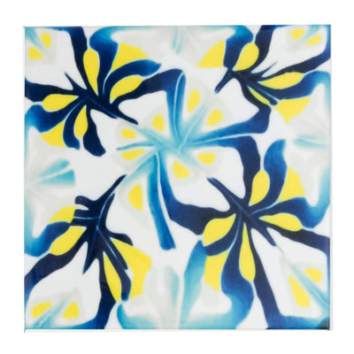 Yellow navy abstract tiles - DoodlePippin