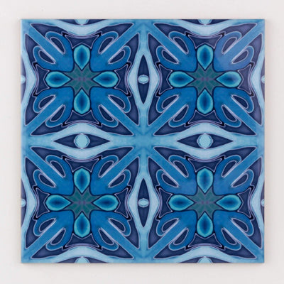 "Denim Blue ""Twining"" handprinted tiles"