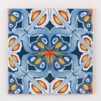 Orange and blue kitchen tiles