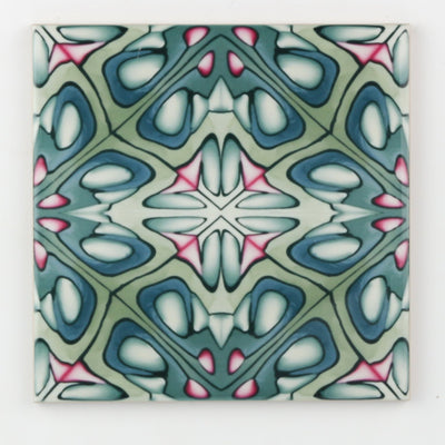 Green grey millefiori tiles