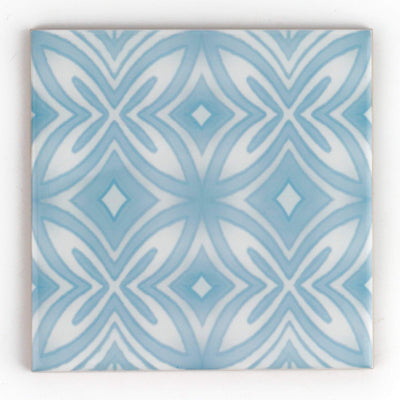 Pale blue and grey hand printed ceramic tiles