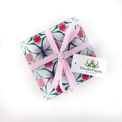 Pink and Teal Designer Coaster Set