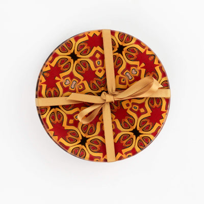 "Gold, red and black ""Medieval"" design coasters"