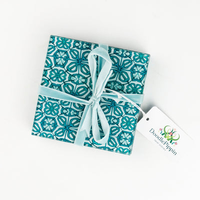 Turquoise Flower coasters