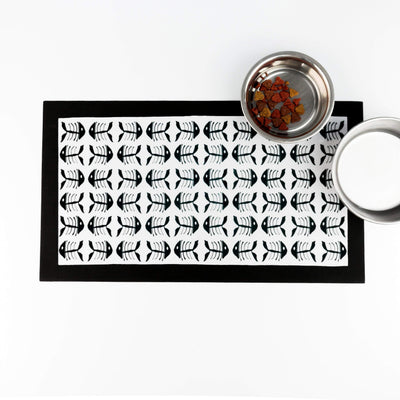 Black and White Bonefish Pet Placemat - DoodlePippin